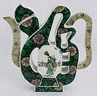 """Chinese Qing Guangxu Porcelain Famille Noire """"Fu"""" Wine Pot Ewer"""