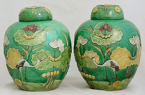 Pair Large Qing Wang Bing Rong Susancai Lidded Jars