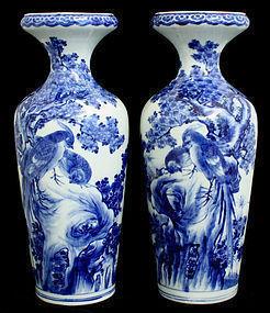 Pair of Meiji Fukagawa Nichi Hizen Arita Vases