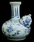 Chinese Ming Wanli Blue and White Porcelain Kendi Ewer