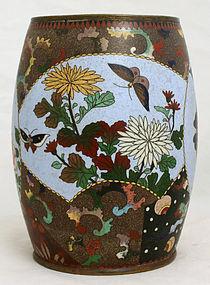 Japanese Meiji Cloisonne Enamel Barrel Form Vase