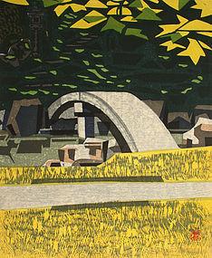 Japanese Ltd. Ed. Woodblock print Okiie Hashimoto Autumn Garden