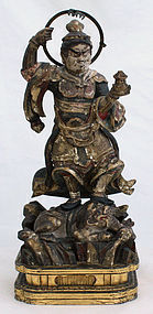 Japanese Edo Period Wood Buddhist Figure Bishamonten Guardian Diety