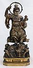 Japanese Edo Period Wood Buddhist Figure Bishamonten Guardian Diety