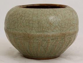 Chinese Yuan Dynasty Longquan Celadon Scholar's Water Coupe Pot