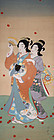 Japanese Showa Nihonga Kakejiku Scrolled Painting Maiko Beauty Autumn