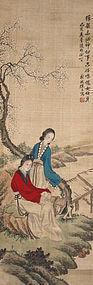 Chinese Silk Scroll Painting Bo Ya Beauty Musician He Xiangqin