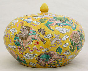 Chinese Qing Guangxu Porcelain Ginger Jar Yellow Buddhist Lion Dogs