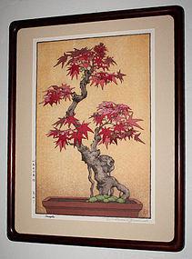 Japanese Shin Hanga Woodblock Print Tsukasa Yoshida Maple 1970