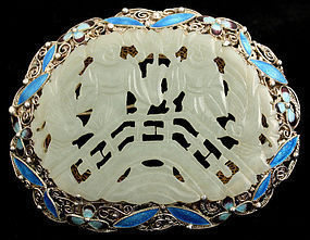 Chinese Jade Carved Plaque Silver Filigree Enamel Brooch Hehe Erxian