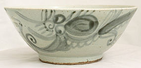 Large Chinese Qing Dynasty Porcelain Bowl Dragon Chasing Pearl