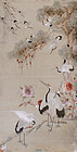 Japanese Meiji Silk Embroidered Panel Textile Hanging of Cranes