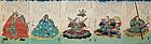 Rare Japanese Edo Woodblock Print Pentaptych Kuniyoshi Takeda Samurai