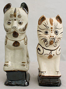 Two Chinese Qing Guangxu Cizhou Stoneware Cat Dog Joss Stick Holders