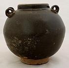Chinese Song to Yuan Dark Brown Glazed Stoneware Jar