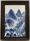 Chinese Qing Qianlong Blue & White Landscape Plaque Wood Frame