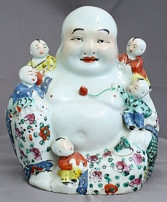 Chinese Qing to Republic Famille Rose Porcelain Budai Children Figure