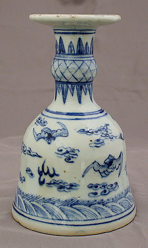 Chinese Qing Guangxu Blue & White Porcelain Candle or Incense Holder