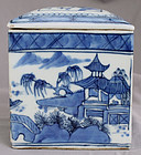 Chinese Qing Blue & White Export Porcelain Canton Tea Canister