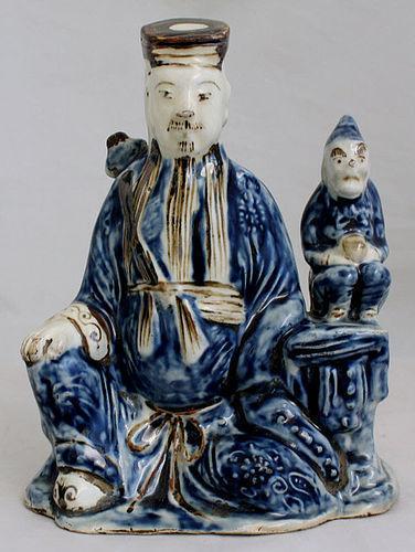 Chinese Qing Guangxu Blue & White Porcelain Fuxing Star God Figure