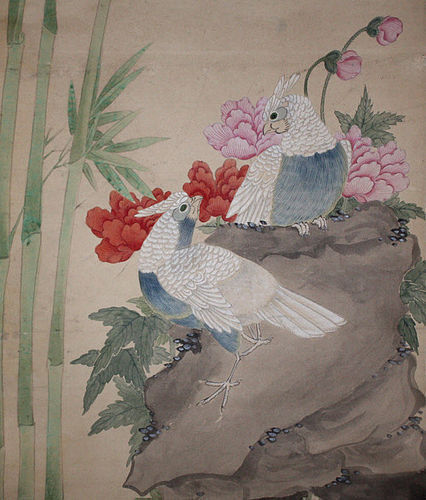 Chinese Qing Scroll Painting on Silk After Zou Yigui Cockatoos Flowers