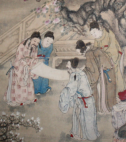 Large Chinese Qing Dynasty Painting Scholars and Ladies in a Garden