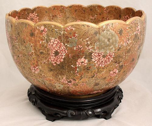 Massive Japanese Meiji Kyoto Satsuma Foliate Bowl Kinkozan Millefleur