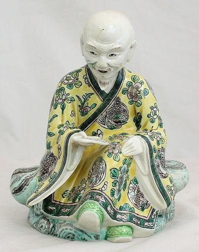 Chinese Qing Dynasty Famille Verte Susancai Porcelain Scholar Figure