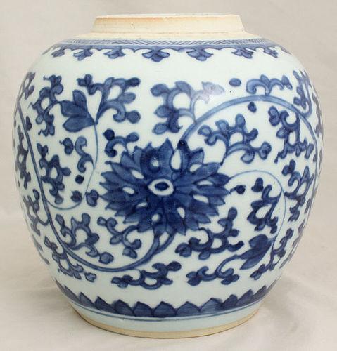 Chinese Qing Guangxu Blue & White Porcelain Kangxi Style Ginger Jar
