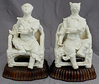 Two Chinese Qing Qianlong White Porcelain Zodiac Figures Dog Monkey