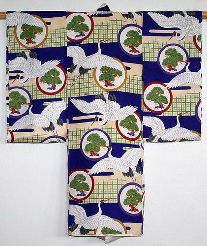 Japanese Early Showa Period Child's Silk Kimono Cranes Pine
