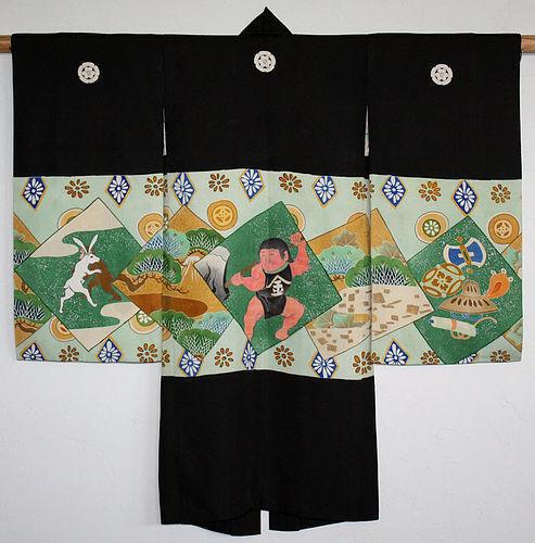 Japanese Taisho Silk Child's Kimono Kintaro Rabbit Monkey Wrestling