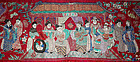 12' Long Chinese Qing Silk Embroidered Birthday Hanging Banner Textile