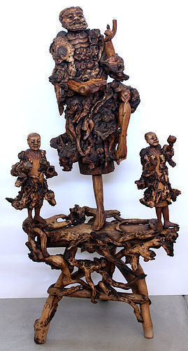 "Massive 52""H Chinese Qing Root Wood Figural Group Carving Li Tieguai"
