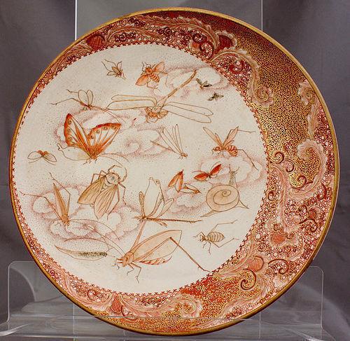 Japanese Meiji Aka-e Kutani Porcelain Plate Dish Insect Frog Dragonfly