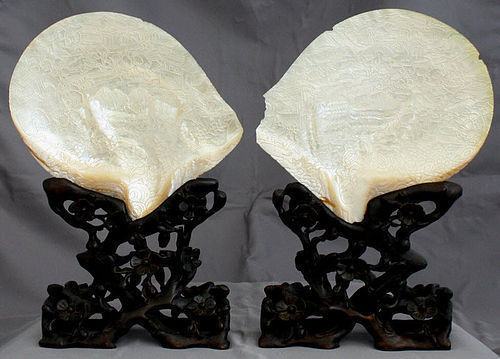 Pair Chinese Qing Carved Abalone Mother-of-Pearl Shells Wood Stands