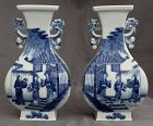 Mirror Pair Chinese Republic Blue White Porcelain Vases Qianlong Mark