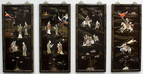 Four Chinese Republic Lacquered Wood Overlay Inlaid Figural Wall Panel
