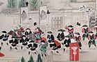 30' Long Japanese Edo Handscroll Daimyo Procession Genre Scene