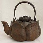 Japanese Meiji Cast Iron Tetsubin Pot Chinese Kangxi Inscription