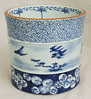 Japanese Edo Meiji Blue White Porcelain Brushpot Bitong Daoguang Mark