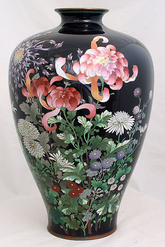 "Large Taisho to Showa 15"" High Japanese Cloisonne Enamel Vase Flowers"