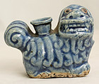 Chinese Qing Qianlong Blue Glazed Buddhist Lion Dog Water Dropper