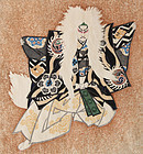 Japanese Woodblock Print Sadanobu Hasegawa III Kabuki Lion Dance