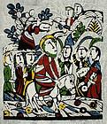 Japanese Kappa-ban Stencil Print Sadao Watanabe Entry into Jerusalem