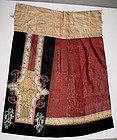 Chinese Qing Lady's Two-panel Summer Gauze Burgundy Silk Skirt