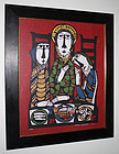 Japanese Ltd. Ed. Kappa-ban Stencil Print Sadao Watanabe Christ Emmaus