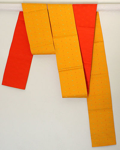 Japanese Vintage Textured Yellow & Orange Obi Mid-century Modern Feel