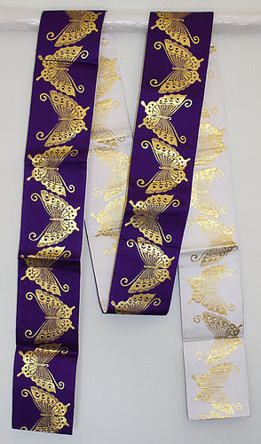 Japanese Vintage Purple White & Gold Obi Butterflies Modern Style