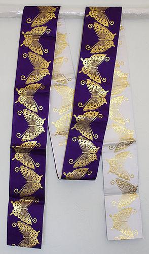 Japanese Vintage Purple White & Gold Obi Butterflies Modern Style